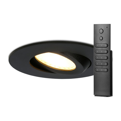 HOFTRONIC™ Set of 8 LED recessed downlights Naples IP65 8 Watt 2700K dimmable 360° tiltable Black incl. remote control