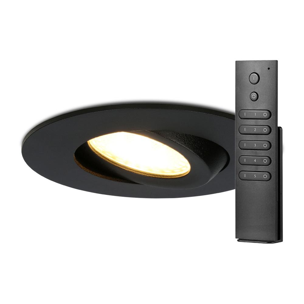 Set van 8 stuks LED inbouwspots Napels IP65 8 Watt 2700K dimbaar 360° kantelbaar zwart incl. afstand
