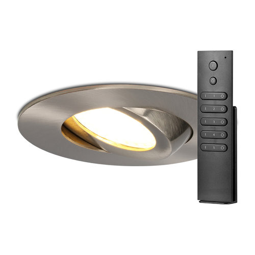 HOFTRONIC™ Set of 6 LED recessed downlights Naples IP65 8 Watt 2700K dimmable 360° tiltable Stainless steel incl. remote control