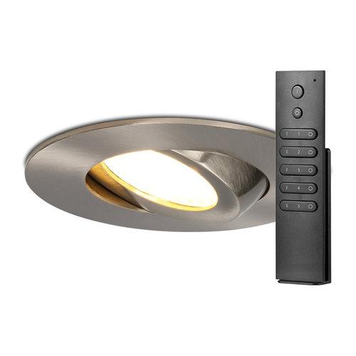 HOFTRONIC™ Set van 6 stuks LED inbouwspots Napels IP65 8 Watt 2700K dimbaar 360° kantelbaar RVS incl. afstandsbediening