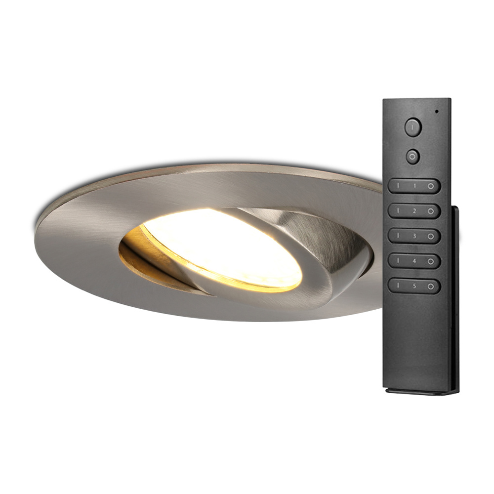 Set van 6 stuks LED inbouwspots Napels IP65 8 Watt 2700K dimbaar 360° kantelbaar RVS incl. afstandsb