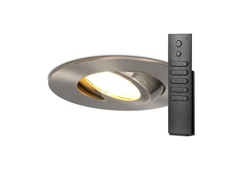 HOFTRONIC™ Set van 8 stuks LED inbouwspots Napels IP65 8 Watt 2700K dimbaar 360° kantelbaar RVS incl. afstandsbediening