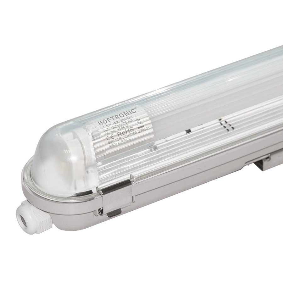 10x LED T8 TL armatuur 120 cm IP65 waterdicht 18W 2340lm 130lm/W 3000K - warm wit - koppelbaar - EIA subsidie geschikt