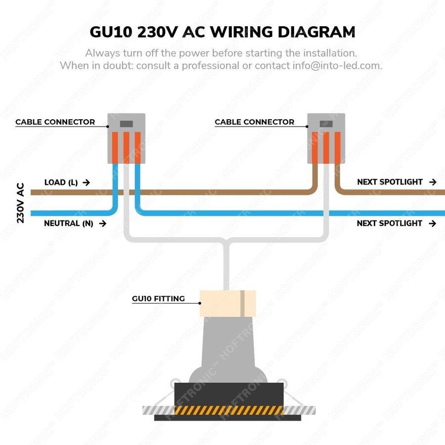 Set van 6 stuks dimbare LED inbouwspots Porto met 5 Watt 4000K spot IP44 Zwart