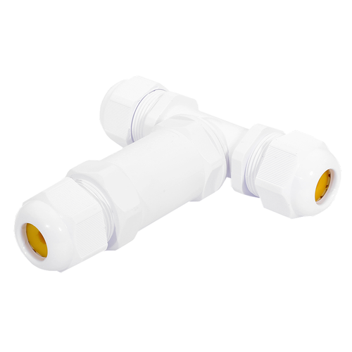 5x Cable connector T-shape IP68 waterproof white