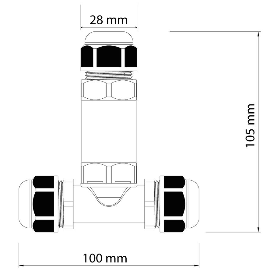 25x Kabelverbinder T-vorm IP68 waterdicht wit