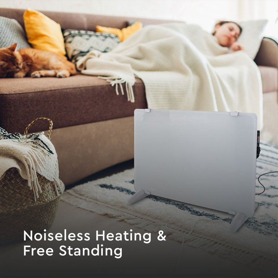 Glazen Paneelverwarmer - Elektrische kachel - Panel Heater - Paneelverwarming - Portable Heater - Wit