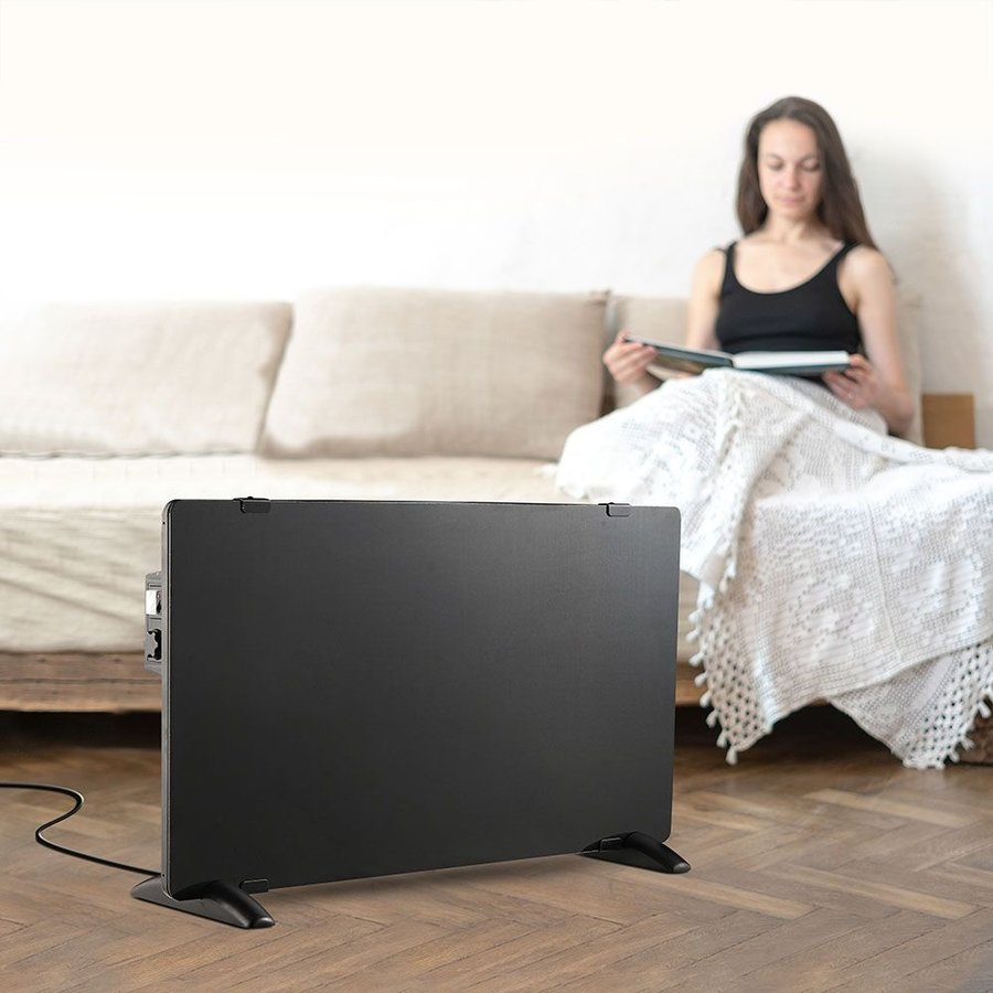 Glazen Paneelverwarmer - Elektrische kachel - Panel Heater - Paneelverwarming - Portable Heater - Zwart