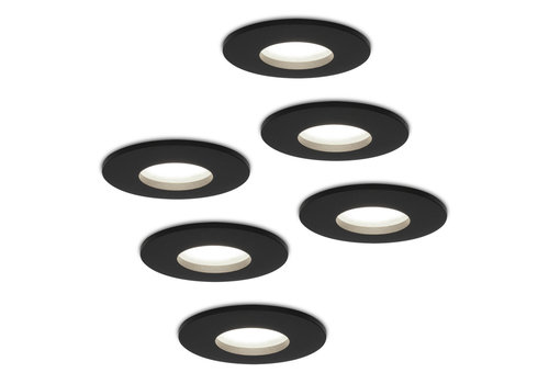 HOFTRONIC™ Set van 6 stuks dimbare LED inbouwspots Porto met 5 Watt 6000K spot IP44 Zwart
