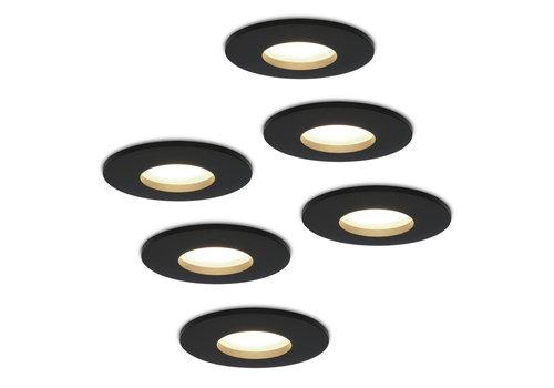 HOFTRONIC™ Set van 6 stuks dimbare LED inbouwspots Porto met 5 Watt 4000K spot IP44 Zwart