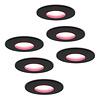 Homeylux Set van 6 stuks smart WiFi dimbare RGBWW LED inbouwspots Porto zwart 5,5 Watt IP44