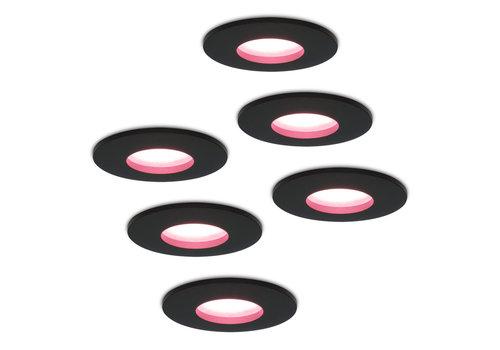 Homeylux Set of 6 smart WiFi dimmable RGBWW LED recessed spotlights Porto black 5,5 Watt IP44