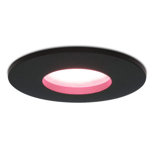 Homeylux Smart WiFi dimbare RGBWW LED inbouwspot Porto zwart GU10 5,5 Watt IP44