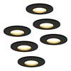 HOFTRONIC™ Set van 6 stuks dimbare LED inbouwspots Porto met 4.2 Watt spot IP44 Zwart