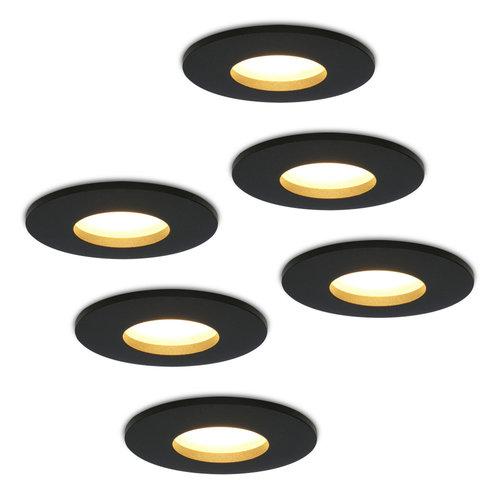 HOFTRONIC™ Set of 6 dimmable LED downlights Porto 4.2 Watt spot IP44 Black
