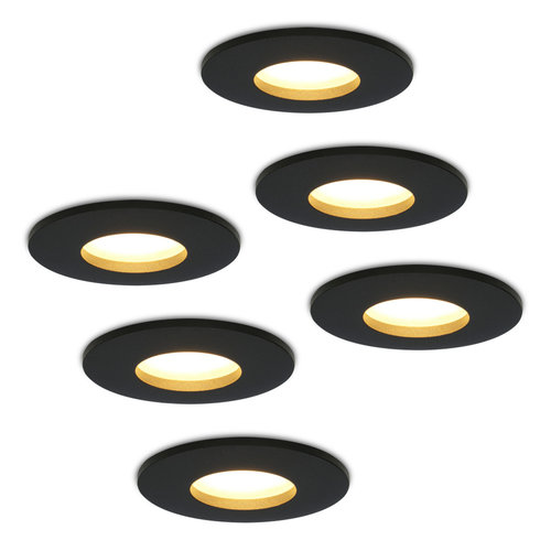 HOFTRONIC™ Set of 6 dimmable LED downlights Porto 5 Watt spot IP44 Black