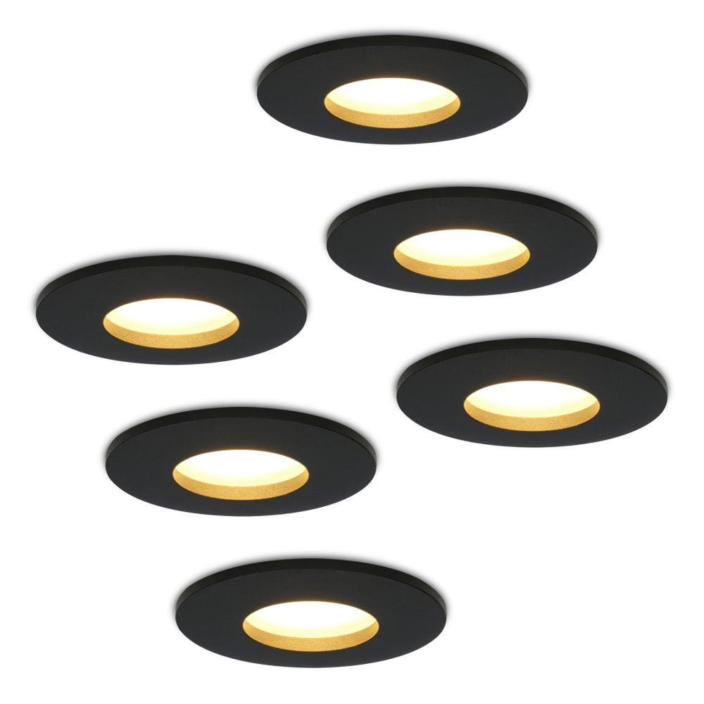 Set van 6 stuks dimbare LED inbouwspots Porto met 5 Watt spot IP44 Zwart