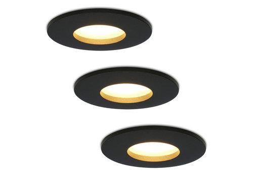 HOFTRONIC™ Set van 3 stuks dimbare LED inbouwspots Porto met 4.2 Watt spot IP44 Zwart
