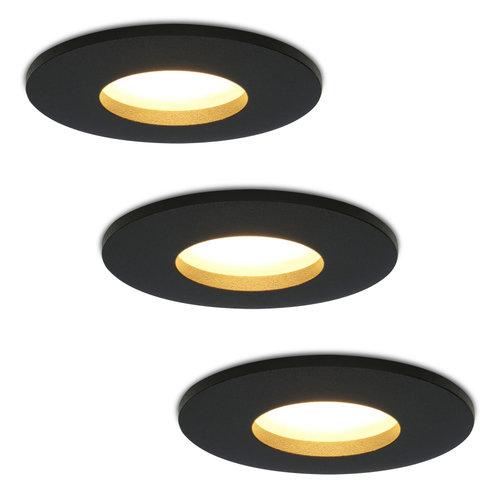 HOFTRONIC™ Set of 3 dimmable LED downlights Porto 4.2 Watt spot IP44 Black