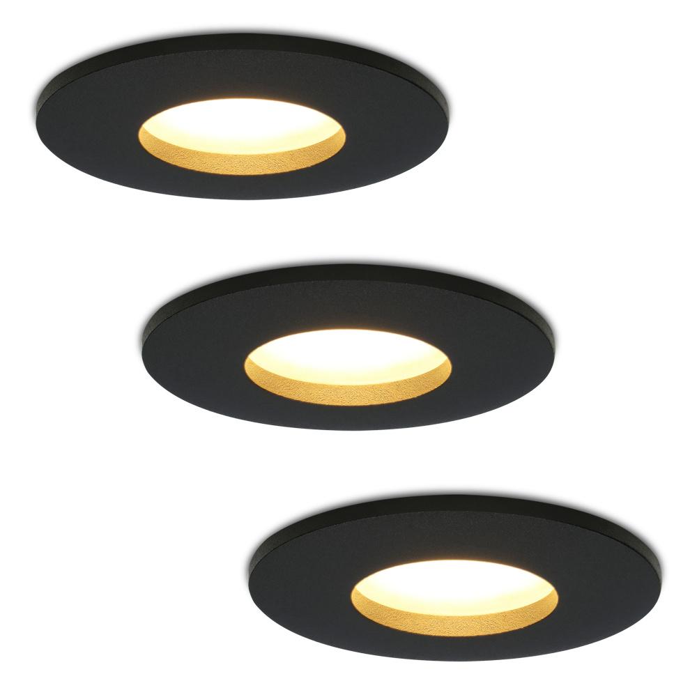 Set van 3 stuks dimbare LED inbouwspots Porto met 5 Watt spot IP44 Zwart