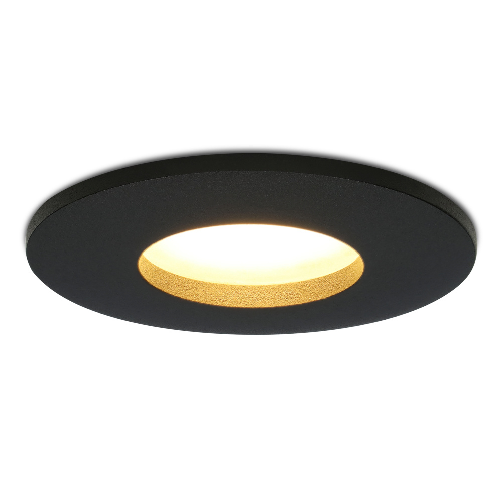 Dimbare LED inbouwspot Porto GU10 5 Watt 2700K IP44 Zwart