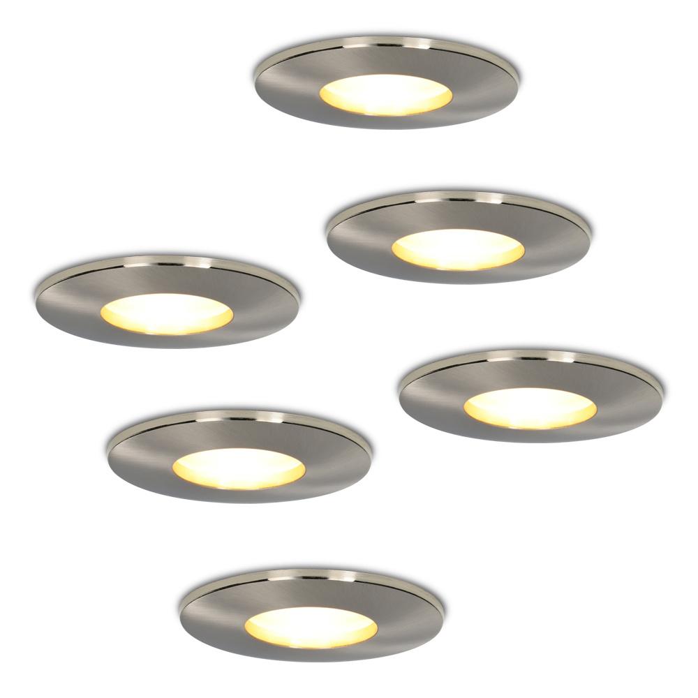 Set van 6 stuks dimbare LED inbouwspots Vegas met 5 Watt spot IP44