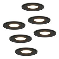 Set van 6 stuks Dimbare LED inbouwspot zwart Venezia 6 Watt 2700K IP65