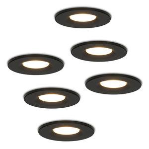 HOFTRONIC™ Set van 6 stuks Dimbare LED inbouwspot zwart Venezia 6 Watt 2700K IP65