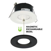 Set of 6 Dimmable LED downlight black Venezia 6 Watt 2700K IP65