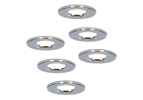 HOFTRONIC™ Set van 6 stuks Dimbare LED inbouwspot chroom Venezia 6 Watt 2700K IP65