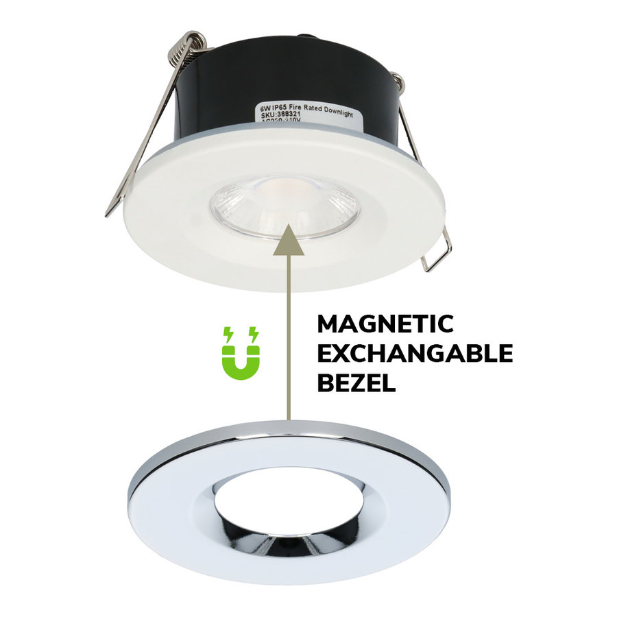 Set van 3 stuks Dimbare LED inbouwspot chroom Venezia 6 Watt 2700K IP65