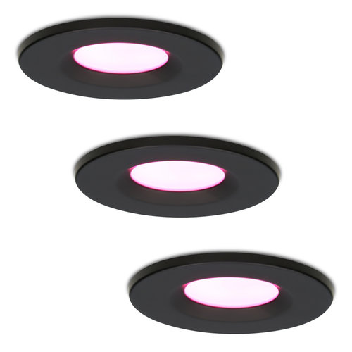Homeylux Set of 3 smart WiFi LED downlights Venezia RGBWW 6 Watt IP65 Black
