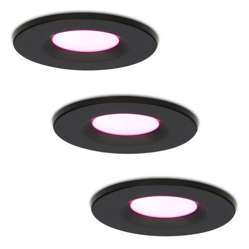 Homeylux Set van 3 stuks smart WiFi LED inbouwspots Venezia RGBWW 6 Watt IP65 Zwart