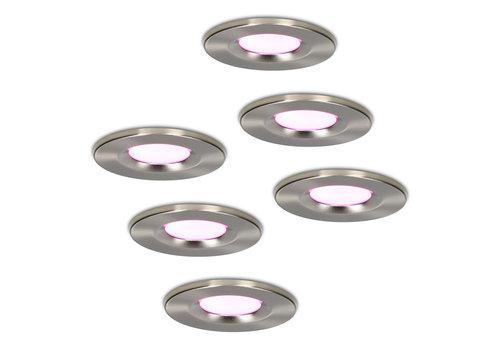 Homeylux Set of 6 smart WiFi LED downlights Venezia RGBWW 6 Watt IP65 Stainless steel