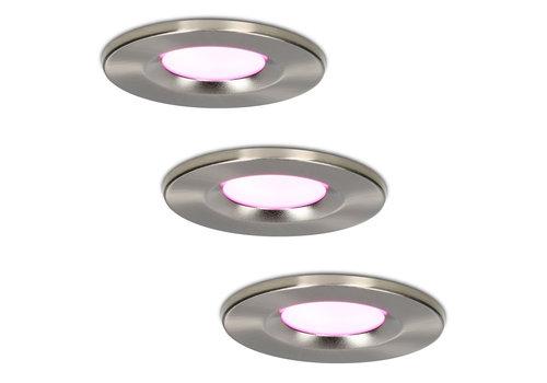 Homeylux Set of 3 smart WiFi LED downlights Venezia RGBWW 6 Watt IP65 Stainless steel