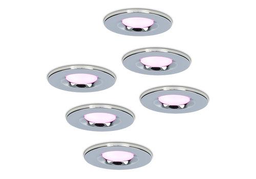 Homeylux Set of 6 smart WiFi LED downlights Venezia RGBWW 6 Watt IP65 Chrome