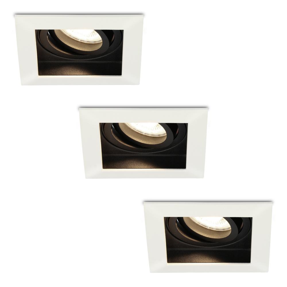 Set van 3 stuks Dimbare LED inbouwspot Durham 5 Watt 4000K neutraal wit Kantelbaar IP20