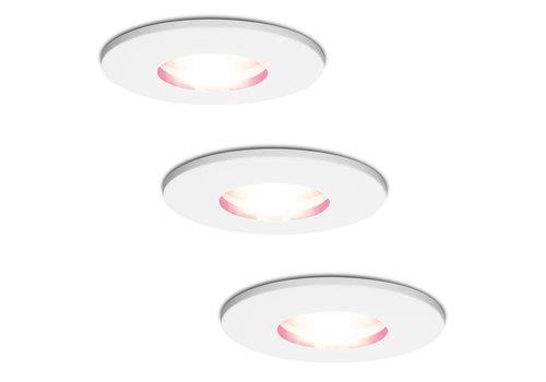 Homeylux Set van 3 stuks smart WiFi RGBWW LED inbouwspots Barcelona wit 5,5 Watt IP44