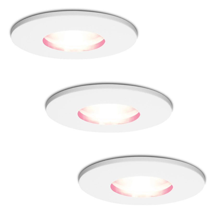 Set van 3 stuks smart WiFi RGBWW LED inbouwspots Barcelona wit 5,5 Watt IP44