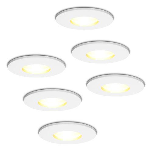 HOFTRONIC™ Set van 6 stuks dimbare LED inbouwspots Barcelona met 5 Watt spot IP44 [vochtbestendig]