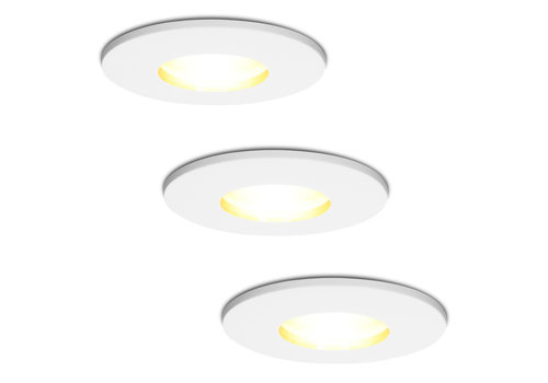 HOFTRONIC™ Set van 3 stuks dimbare LED inbouwspots Barcelona met 5 Watt spot IP44 [vochtbestendig]