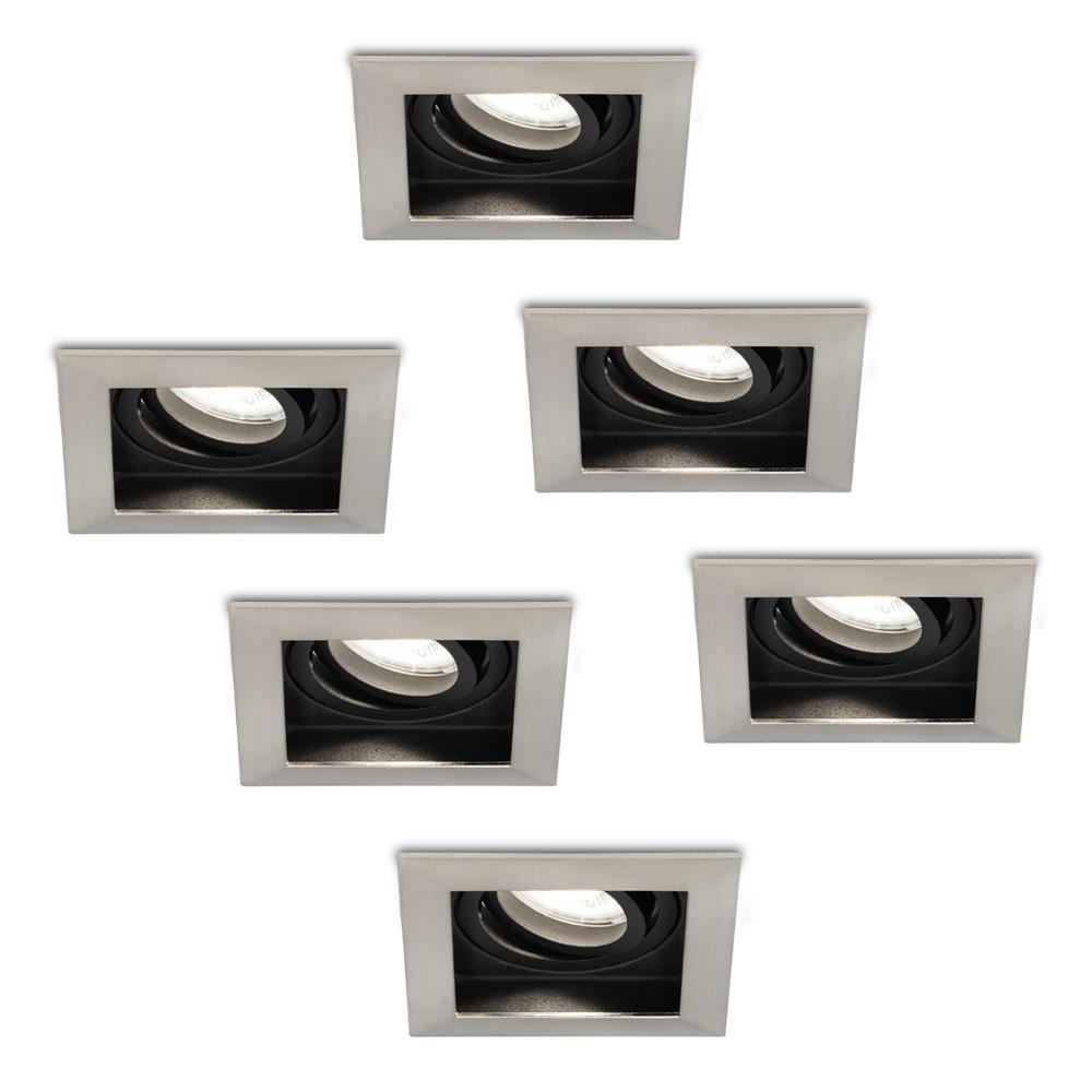 Set van 6 stuks Dimbare LED inbouwspot Modesto 5 Watt 6400K daglicht wit Kantelbaar IP20