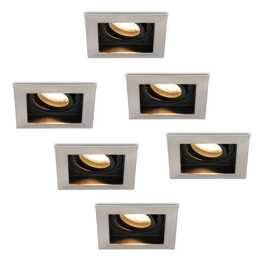 Set van 6 stuks Dimbare LED inbouwspot Modesto 5 Watt 2700K warm wit Kantelbaar