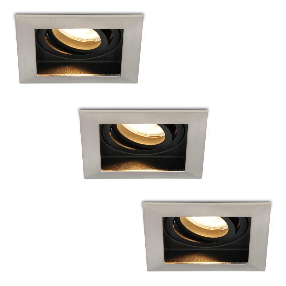 Set van 3 stuks Dimbare LED inbouwspot Modesto 5 Watt 2700K warm wit Kantelbaar