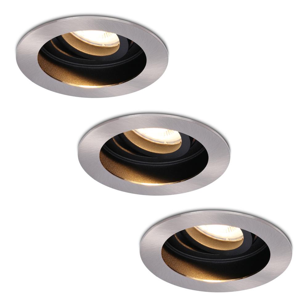 Set van 3 stuks Dimbare LED inbouwspot Mesa 4.2 Watt 2700K warm wit Kantelbaar