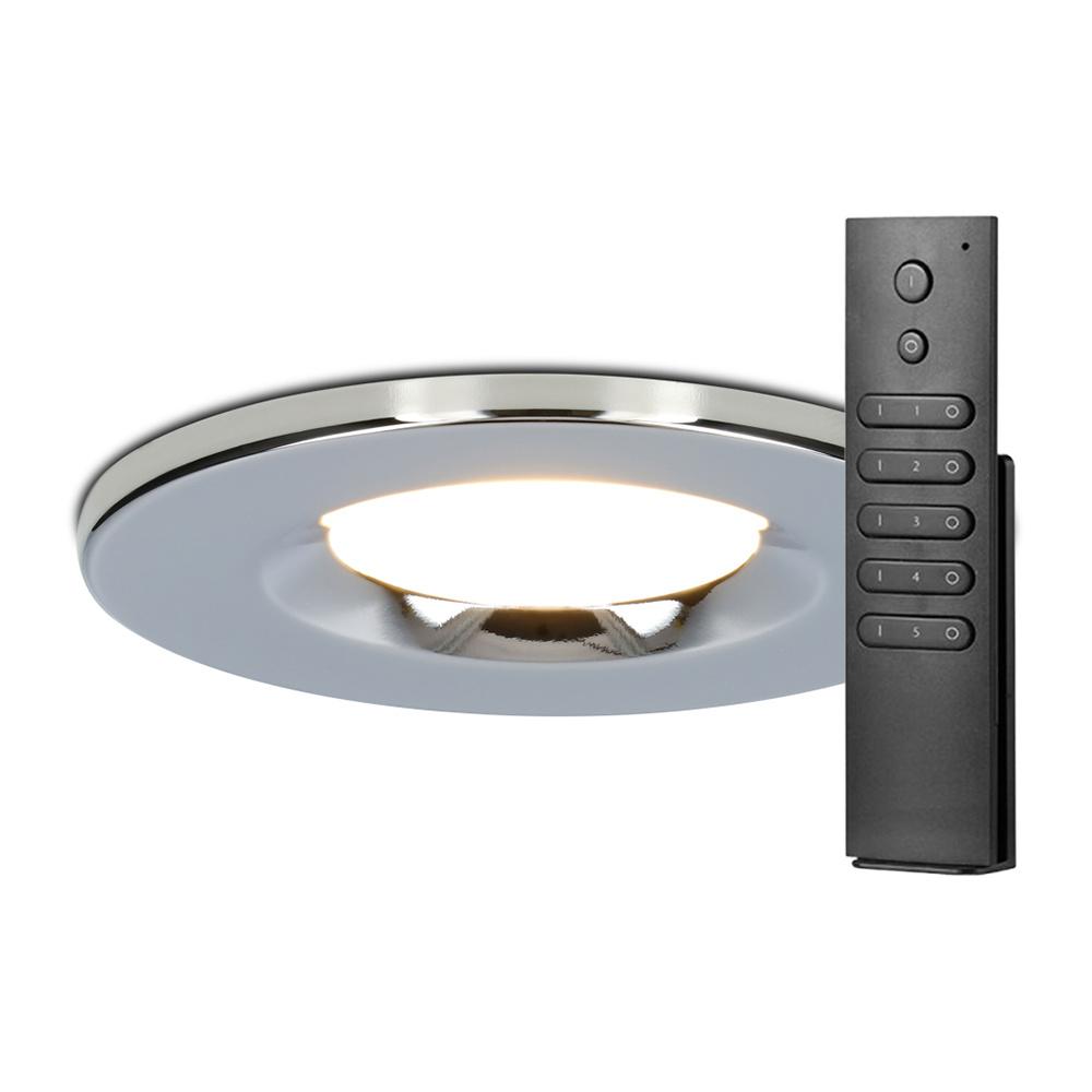 Set van 20 stuks dimbare LED inbouwspots chroom Venezia 6 Watt 2700K IP65 incl. afstandsbediening
