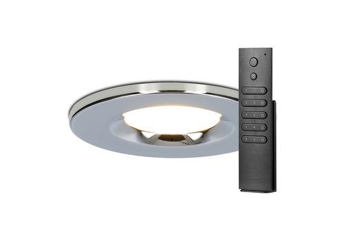 HOFTRONIC™ Set van 12 stuks dimbare LED inbouwspots chroom Venezia 6 Watt 2700K IP65 incl. afstandsbediening