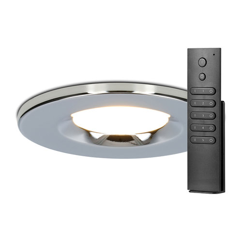 HOFTRONIC™ Set of 12 dimmable LED downlights chrome Venezia 6 Watt 2700K IP65 incl. remote control