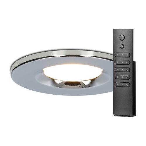 HOFTRONIC™ Set of 8 dimmable LED downlights chrome Venezia 6 Watt 2700K IP65 incl. remote control
