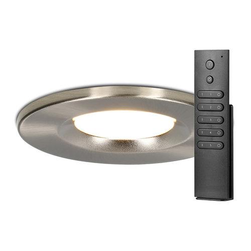 HOFTRONIC™ Set van 18 stuks dimbare LED inbouwspots RVS Venezia 6 Watt 2700K IP65 incl. afstandsbediening